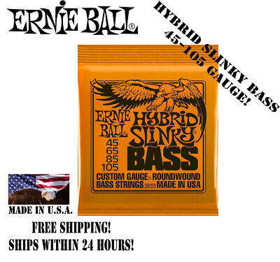 **ERNIE BALL HYBRID SLINKY 45-105 ELECTRIC BASS GUITAR STRINGS 2833 (4-STRING)**