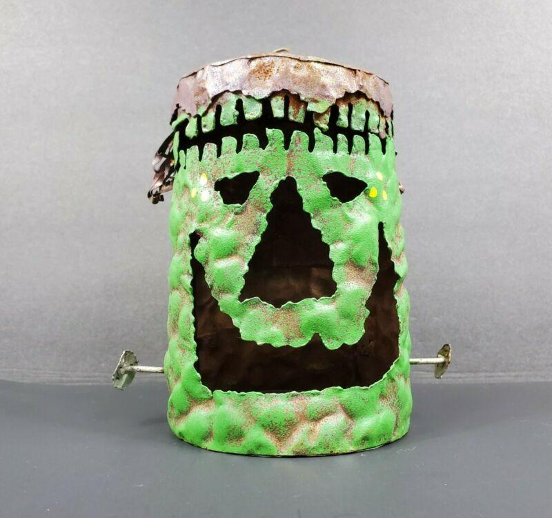 "Halloween Tin Metal 6.5"" FRANKENSTEIN Votive Tea Light Candleholder Lantern EUC"