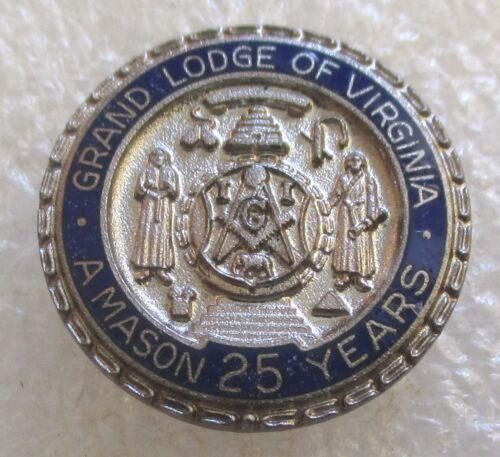 Vintage Grand Lodge of Virginia - A Mason 25 Years Award Lapel Pin - Masonic