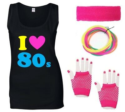 I LOVE THE 80s Ladies Vest & Accessories Fancy Dress Costume Outfit Neon 80's - 80s Outfit Women
