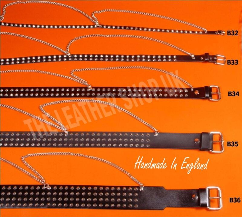 Bullet New Gothic Biker Punk Spike Studded Handmade Real Leather UK Chain Belts