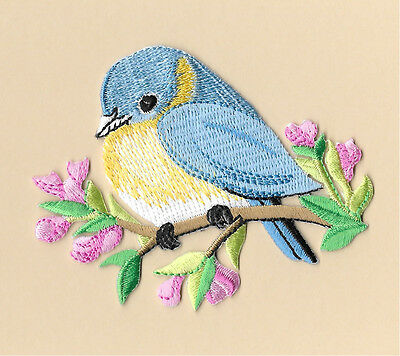 Bird - Blue Bird - Flowers - Spring - Embroidered Iron On Applique Patch ()