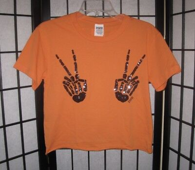 NWT VICTORIA'S SECRET PINK HALLOWEEN SKELETON PEACE SIGN HANDS BLING T SHIRT TOP
