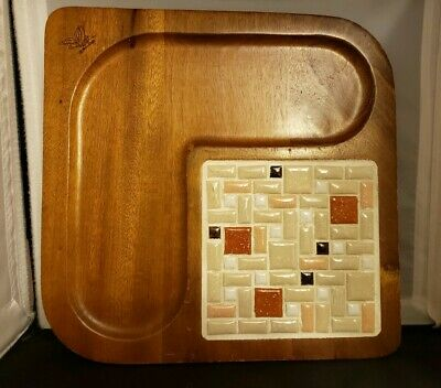 Vintage Mid Century Mod MILBERN Taiwan MOSAIC Tile ServingTray Decorative