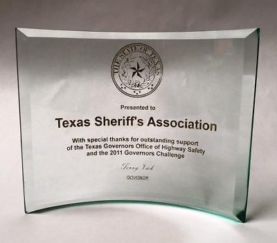 (Achievement or Graduation Plaque, Beveled Etched Glass Crescent)
