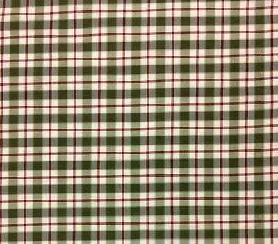 "RITZ SILK CHECK THYME GREEN RED PLAID STRIPE DESIGNER FABRIC BY THE YARD 55""W"