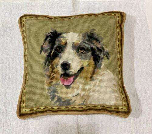 "Australian Shepherd Aussie needlepoint 10"" colorful  accent pillow"