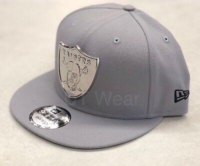 New Era Oakland Raiders Grey Silver METAL BADGE 9FIFTY Snapback Hat Cap LA, used for sale  Pomona