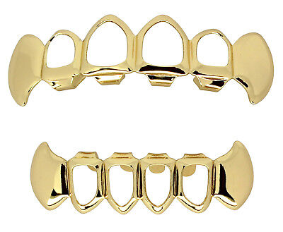 Fangs Open Face Custom Fit 14k Gold Plated Top Bottom Set Hip Hop Teeth - Fangs Gold Teeth