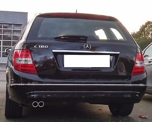 Auspuffblende Edelstahl Doppelrohr f. Mercedes Benz C-Klasse W204 S204 C180 C200