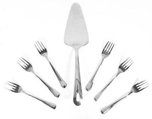 7 Piece Cake Server Pie Pastry Slice Cutter 6 Cake Forks Wedding Dessert Set New