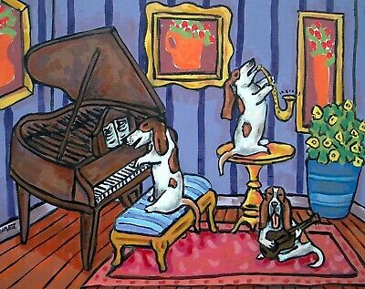 Basset hound TRIO playing music  picture  DOG ART NOTE CARDS