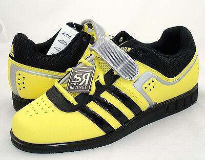 New Mens adidas POWERLIFT 2.0 Weightlifting Mens Shoes Yellow Black G96434
