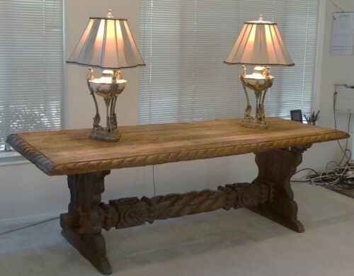 Large Hand Carved and Sawn Spanish Colonial Style Table
