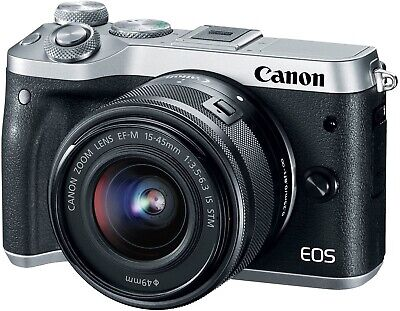 Canon EOS M6 24.2MP Digital Camera -Silver (Kit w/ EF-M 15-45mm/Meike 1.4Lens)