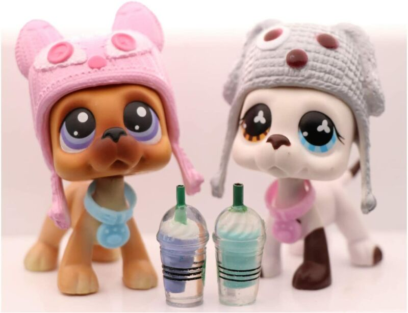 Authentic Littlest Pet Shop LPS Great Dane Lot 577 244 White with Accessories