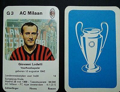 AC MILAN - GIOVANNI LODETTI - 1970 Dutch Europa-cup Kwartet game card - scarce Ac Milan Game