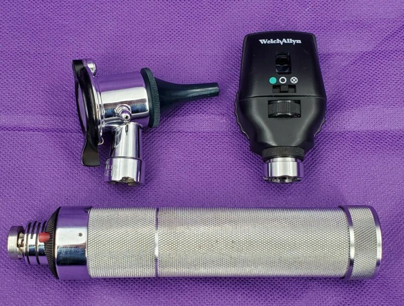 Welch Allyn 20200 Pneumatic Otoscope Ophthalmoscope Diagnostic Set Plugin Handle