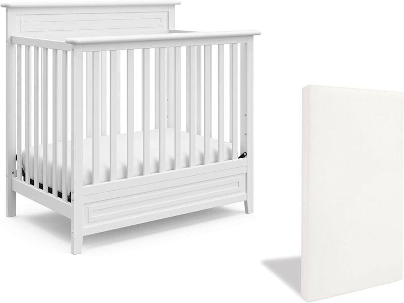 Storkcraft Petal 5-in-1 Convertible Mini Crib with Mattress, White