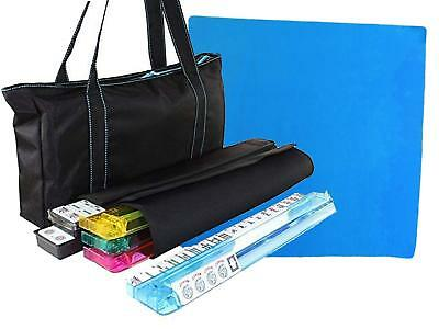 """35.5"""" Blue Tablecover + American Mahjong Waterproof Black Bag with Blue Stitches"""