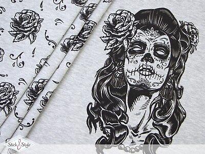 ugar Skull Girl - hellgrau meliert Eigendruck BioBunt (Sugar Skull Girl)