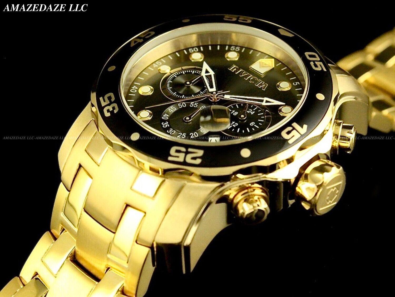Invicta Men's 80064 Pro Diver Chronograph Charcoal Dial 18k