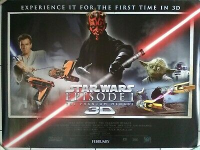 Star Wars - The Phantom Menace - Episode One - 3D - Original Cinema Quad Poster