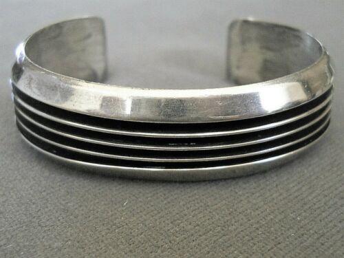 TOM HAWK Southwestern Native American Navajo Sterling Silver Track Cuff Bracelet