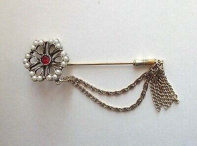 Vintage 80s Sarah Coventry Canada Stick Pin-Red Rhinestone & Pearls-Chain-Tassel - 80's Costumes Canada