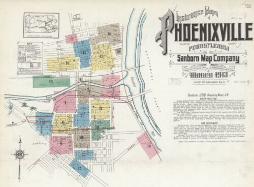 Phoenixville Pennsylvania~Sanborn Map© 18 maps made in 1913 in  color on CD