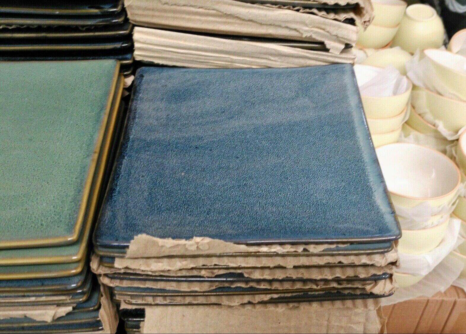60  Porzellanteller Bunt Grün/Blau Teller Porzellan  15,5cm Seitenlänge Quadrat