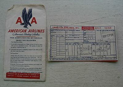 American Airline Boarding Pass   Ticket Dated 1954