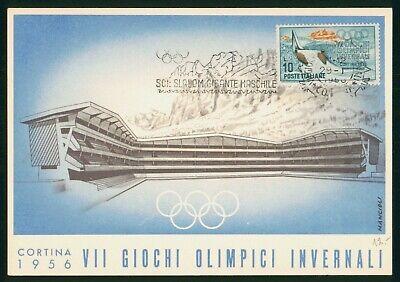 Mayfairstamps Italy 1956 Olympics Giochi Maximum Card Slalom Cancel Postcard wwp