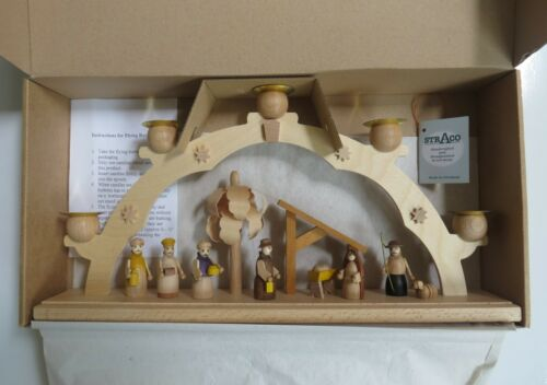 "STRACO ERZGEBIRGE GERMAN NATIVITY  CRECHE 5 CANDLE ARCH HANDPAINTED WOOD 15"" NIB"