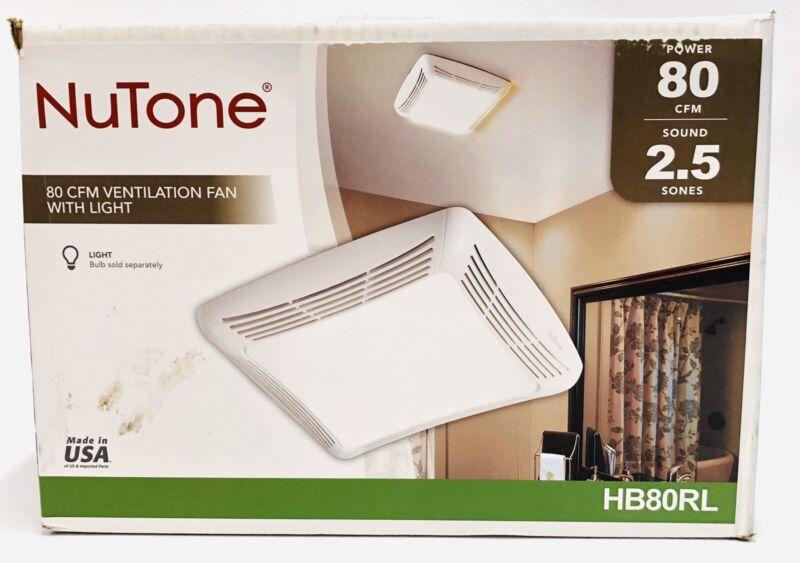 Nutone 80 CFM Ceiling Bathroom Exhaust Fan with Light HB80RL