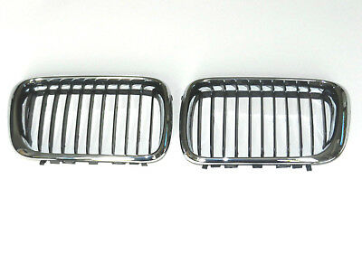 BMW 3 SERIES E36 1996 - 2000 PAIR FRONT GRILLE CHROME / BLACK GRILL KIDNEY SET for sale  Bournemouth