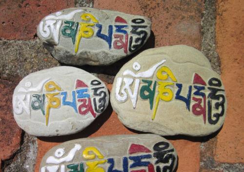 COLORFUL OM MANTRA HAND CARVED &PAINTED TIBETAN BUDDHIST SINGLE MANI STONE NEPAL