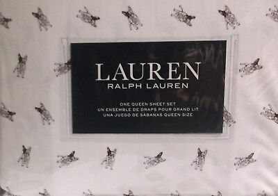 RALPH LAUREN FRENCH BULL DOGS QUEEN SHEETS WHITE GRAY 4 PIECE QUEEN SHEET SET