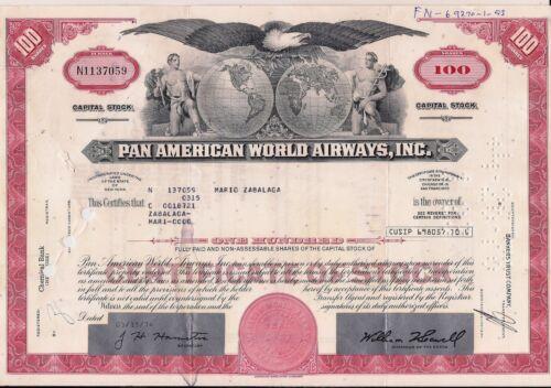 Stock certificate Pan AM - Pan American World Airways, Inc. + document red