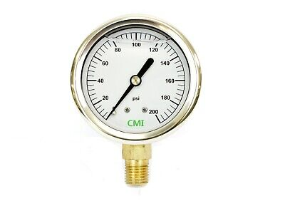200 Psi Liquid Filled Ss Gauge 14 Npt Connection 2.5 63mm Dial