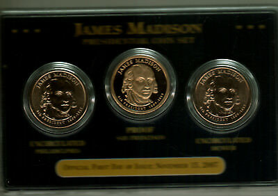 NICELY PACKAGED 2007 JAMES MADISON PDS PRESIDENTIAL DOLLAR SET
