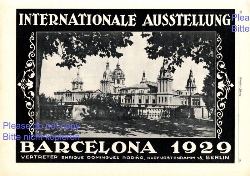 International Exhibition Barcelona Spain 1928 German advertising ad +