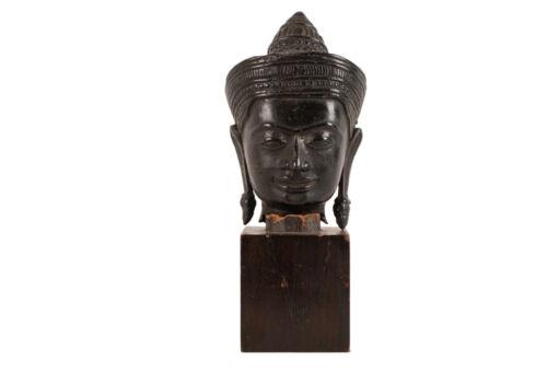 Cambodia 20. Jh Ein Kambodschanischer Vishnu Bronze Head IN Khmer-Stil