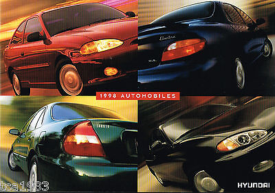 1998 HYUNDAI ACCENT / SONATA /ELANTRA/TIBURON Brochure/Catalog w/Color Chart:'98
