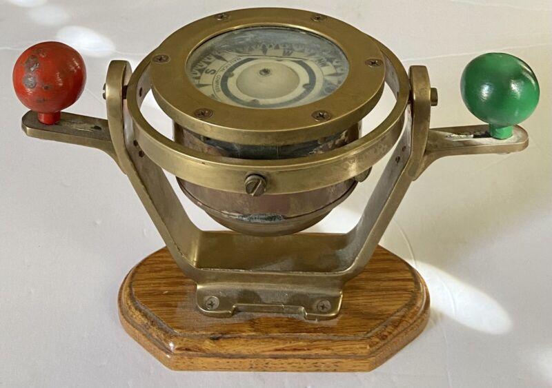 Vintage Sailing Ship Nautical Maritime Brass Gimbal Compass Liquid Wood Base