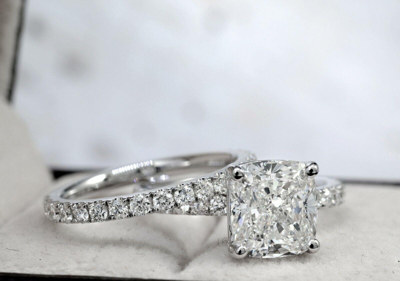 Dazzling 2.10 Ct. Cushion Cut Diamond Engagement Ring Bridal Set GIA Certified 5