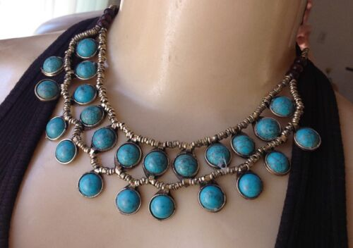 Vintage Necklace Afghan Turquoise Bib Pendant Tribal Handmade Boho Jewelry
