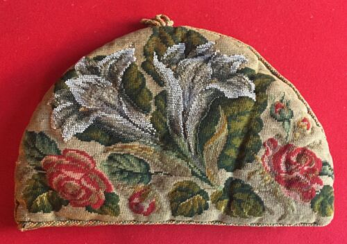 Antique 19th c. Victorian English Needlework Beaded Floral Tea Cozy Needlepoint