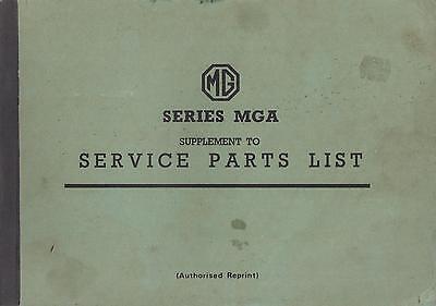 MG MGA 1500 COUPE & ROADSTER ( 1955 - 1959 ) FACTORY SERVICE PARTS CATALOGUE
