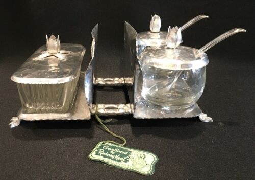 Vintage Rodney Kent Hammered Aluminum Butter Dish, Condiment & Napkin Holder